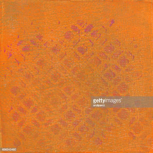 Orange hand painted background with pattern