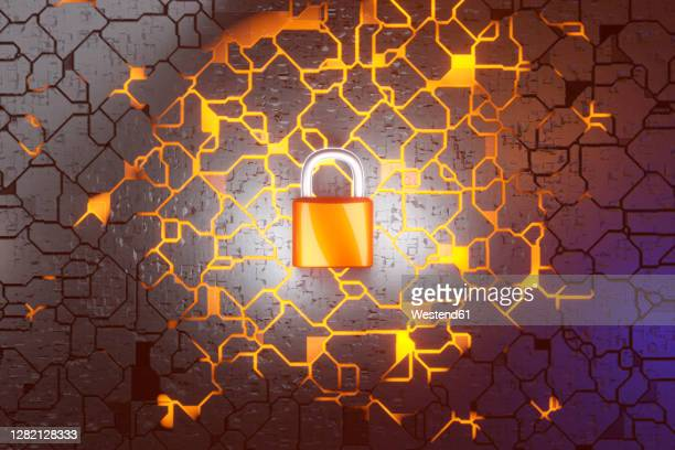 orange security padlock in circuit board - protection stock illustrations