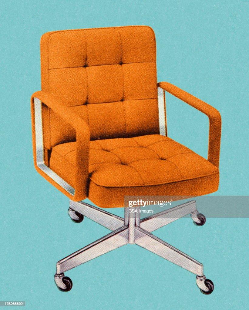 Orange Vintage Office Chair : stock illustration