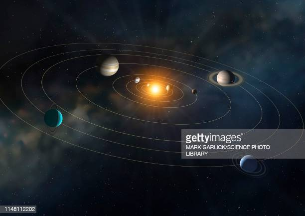 orbits of planets in the solar system, illustration - solar system stock illustrations