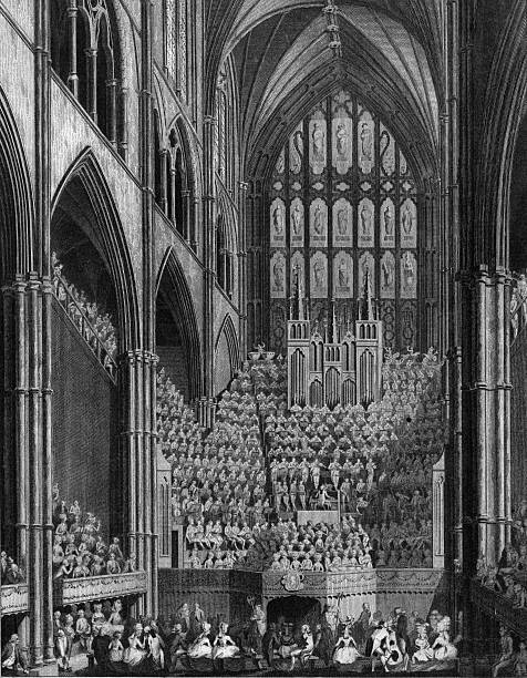 Orchestra and performers in Westminster Abbey during...
