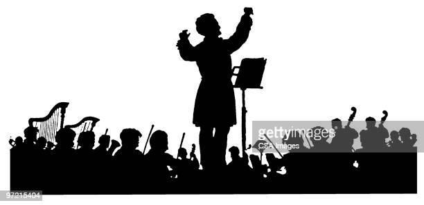 ilustraciones, imágenes clip art, dibujos animados e iconos de stock de orchestra - grupo mediano de personas