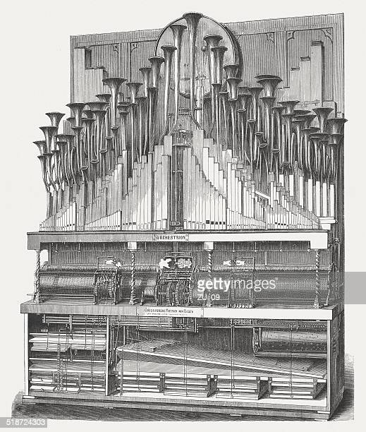 orchestrion (1862) by michael welte (vöhrenbach, germany), published in 1877 - great exhibition stock illustrations, clip art, cartoons, & icons