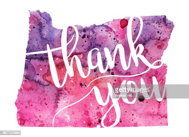 オレゴン ピンクと紫の水彩マップ「ありがとう」ハンド書道本文 - thank you点のイラスト素材/クリップアート素材/マンガ素材/アイコン素材