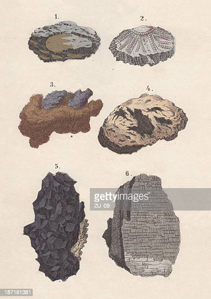 Ores: gold, silver, copper, iron, tin, potter's, hand-coloured lithograph, 1880