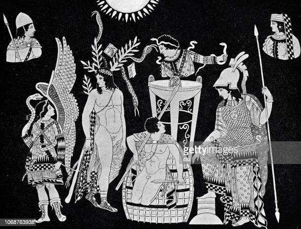 oreste's atonement by apollo and athena in the temple of delphi - classical greek style stock illustrations