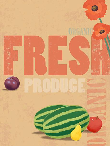 Organic fresh produce poster illustration