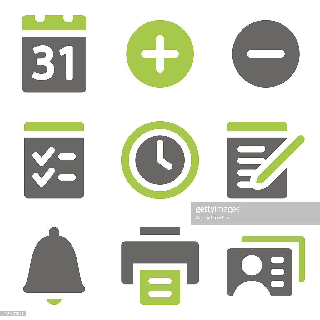 Organizer web icons, green grey solid series