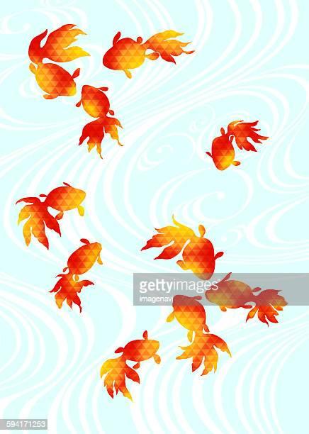 illustrations, cliparts, dessins animés et icônes de oriental background with goldfish - poisson rouge