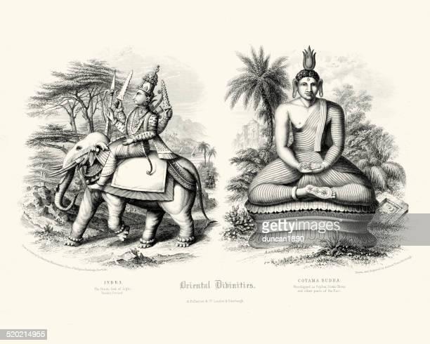 oriental divinities - indra and cotama budha - hindu god stock illustrations