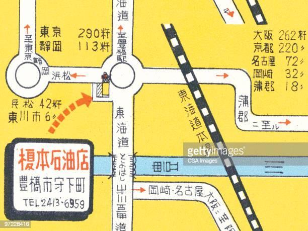 oriental map - road stock illustrations