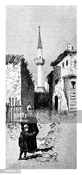 ilustrações, clipart, desenhos animados e ícones de cena oriental da cidade com uma mulher e uma criança muçulmanas - 1887