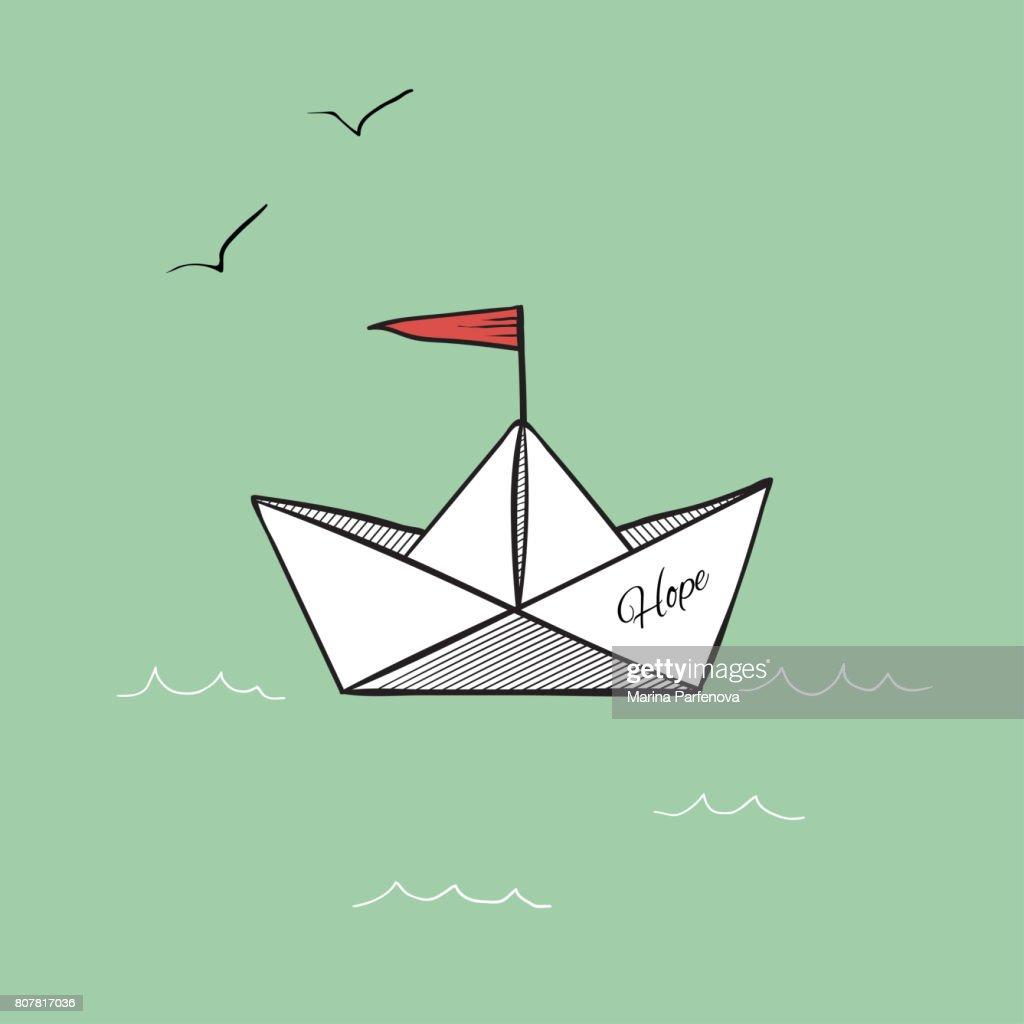 Origami Paper Ship Hope On Sea Waves Illustration Rasterized