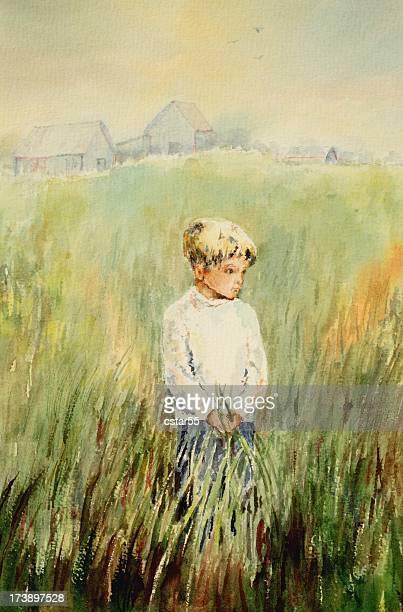 original art boy in field - art and craft stock illustrations, clip art, cartoons, & icons