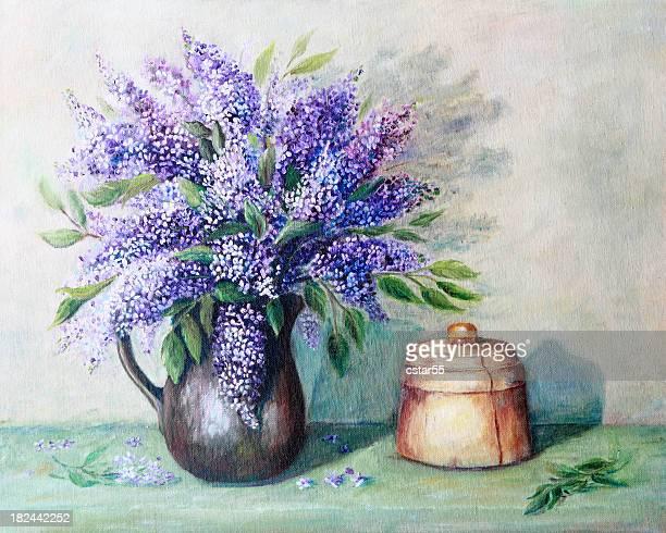 ilustraciones, imágenes clip art, dibujos animados e iconos de stock de de arte originales, un florero lilacs cuadro al óleo de la naturaleza muerta - lavanda
