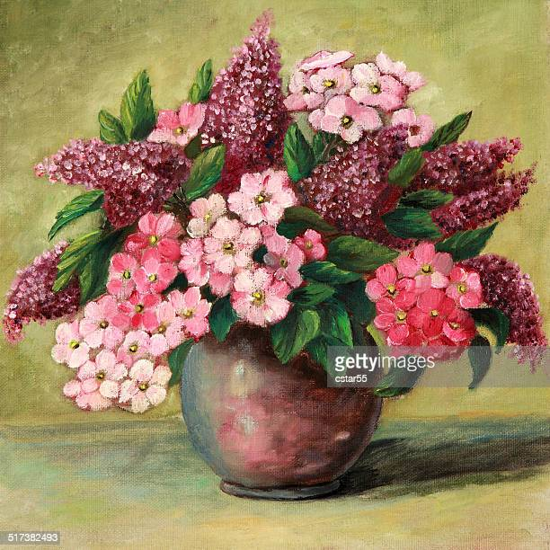 original art painting of lilacs and phlox in vase - oil painting stock illustrations