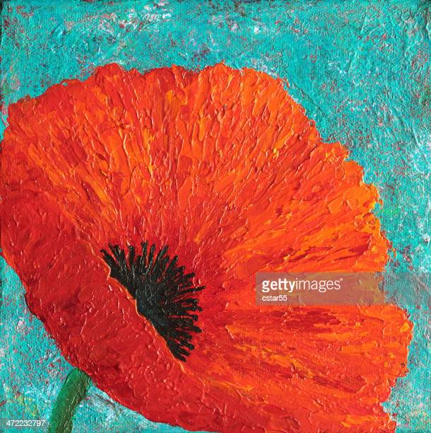 original art painting of red poppy on turquoise blue - poppy stock illustrations, clip art, cartoons, & icons