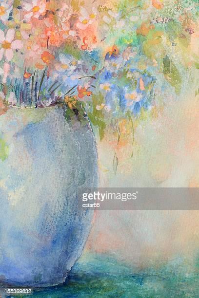 original art watercolor flowers - still life stock illustrations