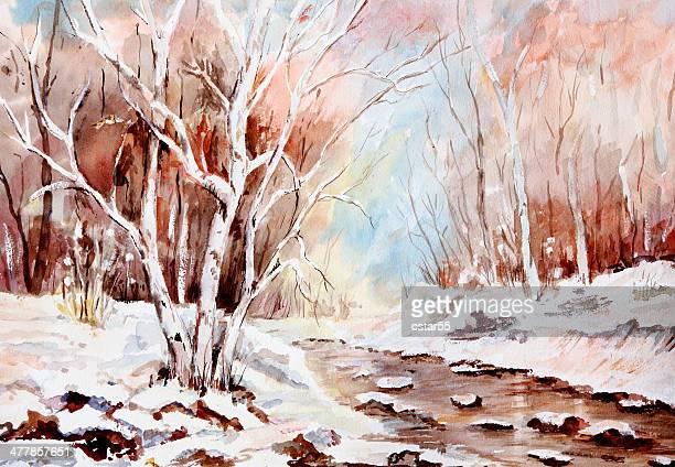 original art watercolor snow stream - aspen tree stock illustrations, clip art, cartoons, & icons