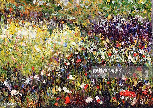 original impressionist art oil painting of meadow with flowers - impressionism stock illustrations