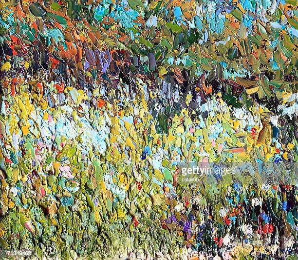 original impressionist art painting of meadow with flowers - impressionism stock illustrations