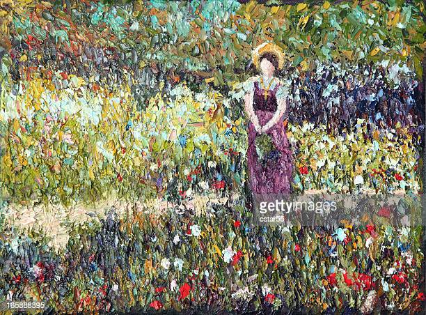 original impressionist art woman in meadow using oil paints - french culture stock illustrations