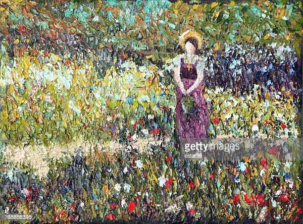 ilustrações, clipart, desenhos animados e ícones de arte impressionista original mulher no meadow com tintas a óleo - flowerbed