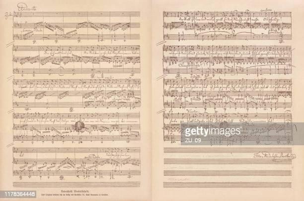 original manuscript by felix mendelssohn bartholdy, facsimile, published in 1885 - manuscript stock illustrations