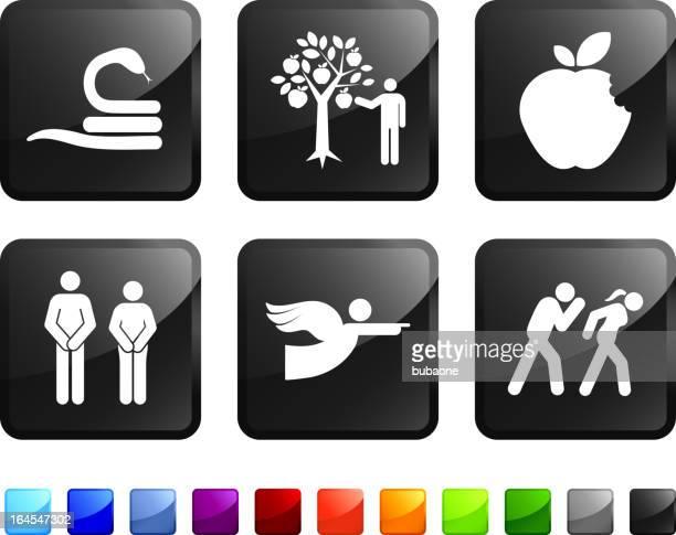 ilustraciones, imágenes clip art, dibujos animados e iconos de stock de original sin royalties de vector icon set pegatinas - los siete pecados capitales