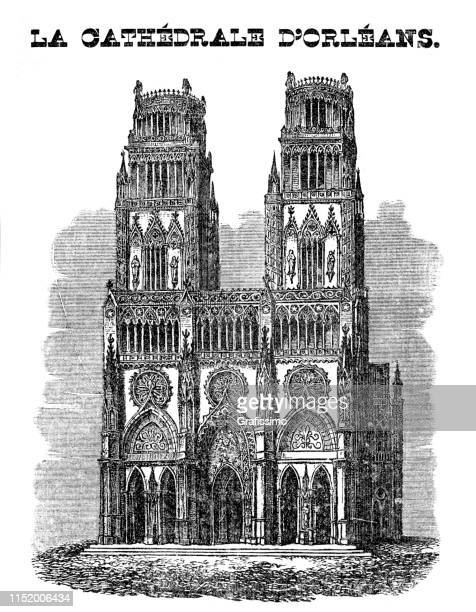 orléans cathedral roman catholic church france 1839 - historical document stock illustrations, clip art, cartoons, & icons