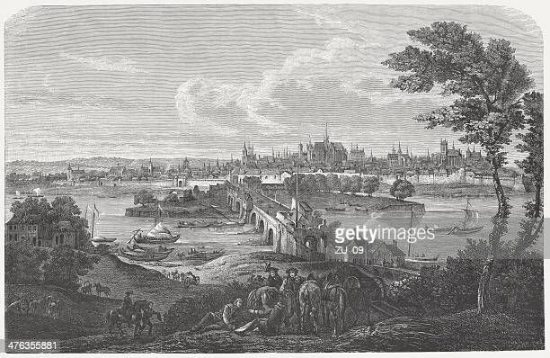 orléans in 1690, by jean-baptiste martin, wood engraving, published 1883 - loire valley stock illustrations, clip art, cartoons, & icons