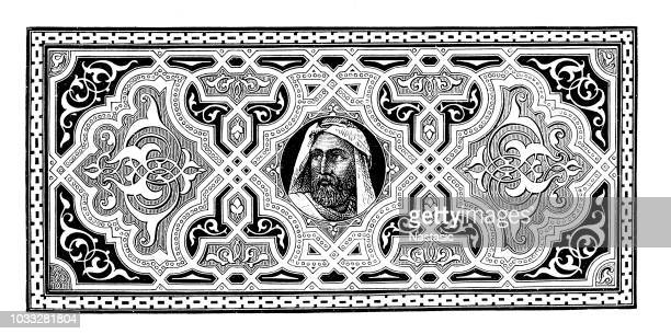 ornament with an assyrian king - 8th century bc stock illustrations, clip art, cartoons, & icons