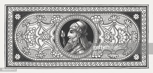 ornament with an assyrian king, wood engraving, published in 1880 - 8th century bc stock illustrations, clip art, cartoons, & icons