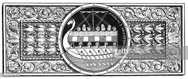 ornament with phoenician galley - architectural feature stock illustrations, clip art, cartoons, & icons