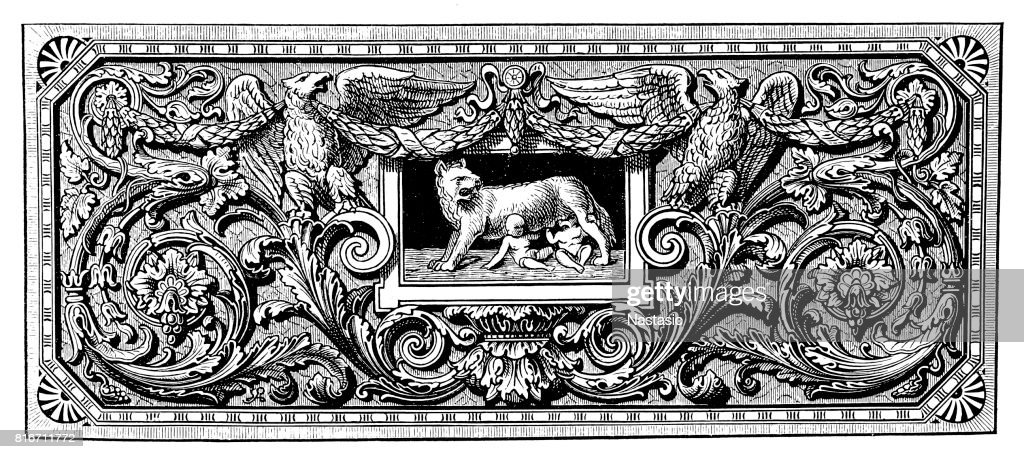 Ornament with Romulus, Remus, and the Capotoline Wolf : stock illustration