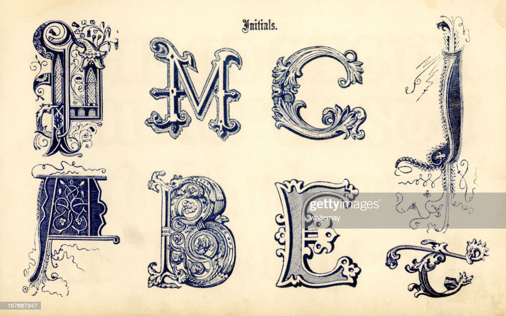 Ornamental initials : stock illustration