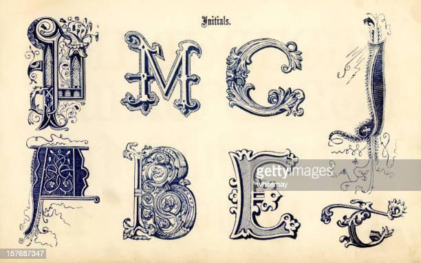 ilustrações de stock, clip art, desenhos animados e ícones de iniciais ornamentais - letrac