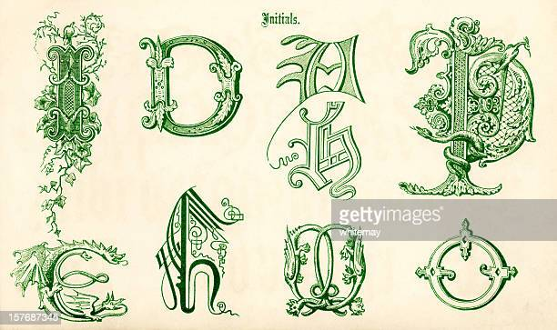 ornamental letters in green sketches - letter d stock illustrations, clip art, cartoons, & icons