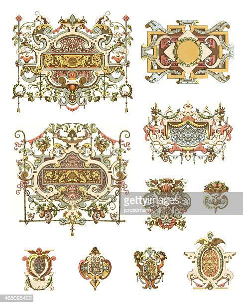 ornaments france 16th century - 16th century style stock illustrations, clip art, cartoons, & icons