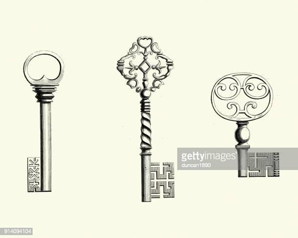 ilustrações, clipart, desenhos animados e ícones de chaves de aço do século xvii ornamentado - chave