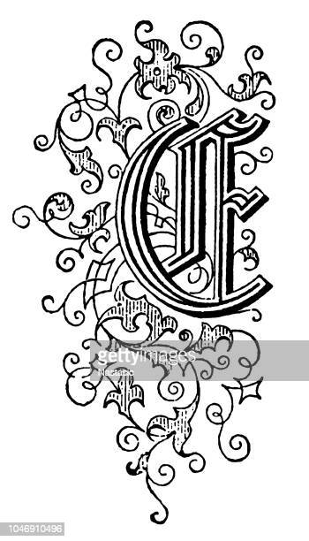ornate capital letter e - 18th century stock illustrations