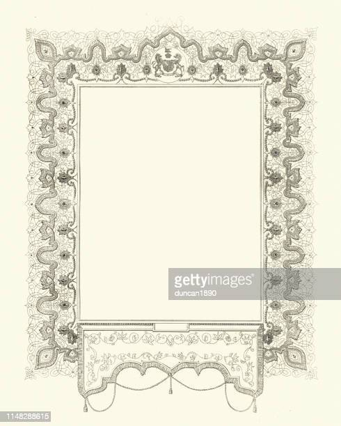 ornate engraving of a blank frame - filigree stock illustrations