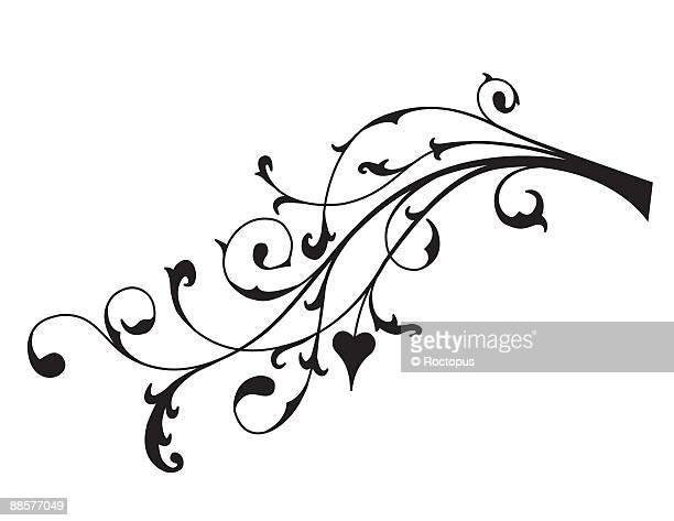 ilustraciones, imágenes clip art, dibujos animados e iconos de stock de ornate filigree tendril - enredadera
