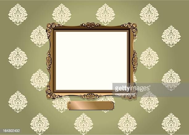 ornate frame and plaque against vintage wallpaper - memorial plaque stock illustrations, clip art, cartoons, & icons
