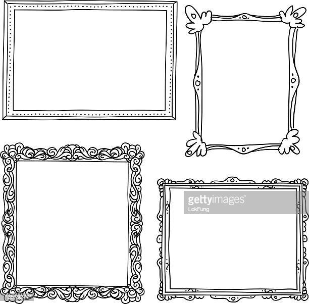 ornate frame in sketch style - picture frame stock illustrations