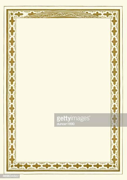 ilustrações, clipart, desenhos animados e ícones de ornamentado gold certificate de fronteira - composição