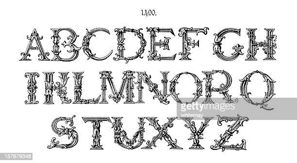 Ornate initial capitals from around 1490