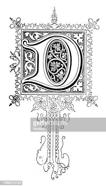 ornate letter d - letter d stock illustrations, clip art, cartoons, & icons