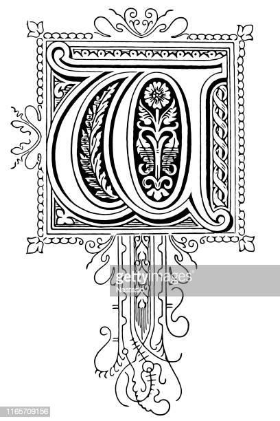 ornate letter w - embellishment stock illustrations