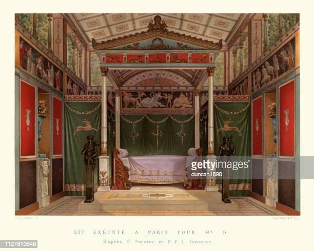 華やかな新古典的な寝室、フランス、19 世紀初頭 - 新古典派点のイラスト素材/クリップアート素材/マンガ素材/アイコン素材